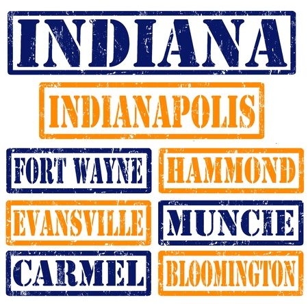 indianapolis: Set of Indiana cities stamps on white background