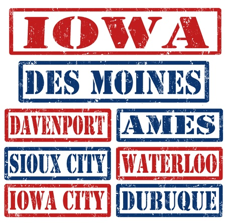 davenport: Set of Iowa cities stamps on white background
