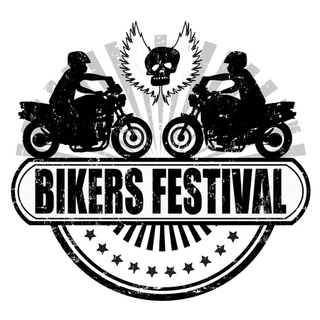 Bikers Festival grunge rubber stamp on white Vector