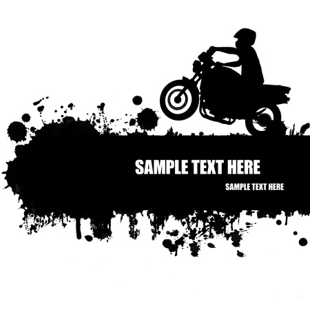 Grunge motocross poster with rider silhouette
