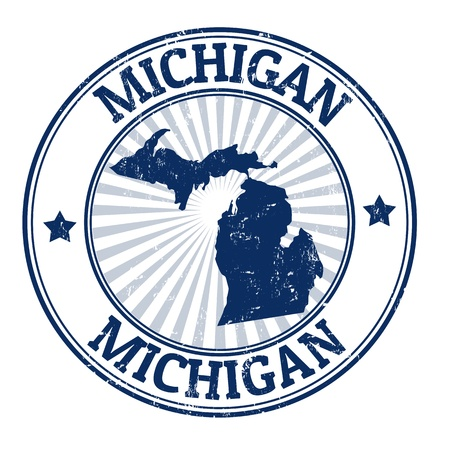 Grunge rubber stamp with the name and map of Michigan Illustration