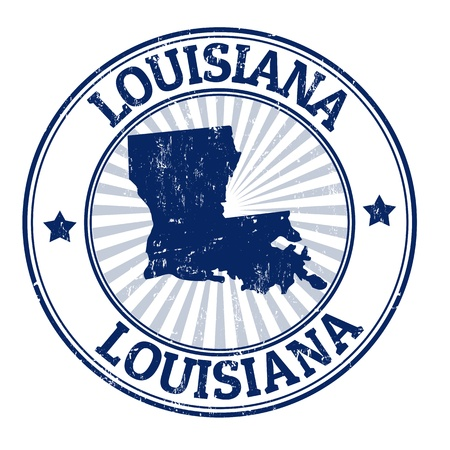 louisiana: Grunge rubber stamp with the name and map of Louisiana