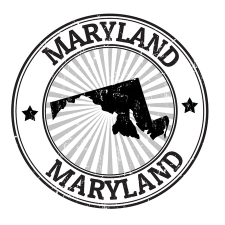 identifier: Grunge rubber stamp with the name and map of Maryland
