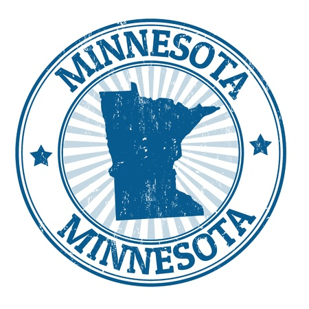 Grunge rubber stamp with the name and map of Minnesota Vector