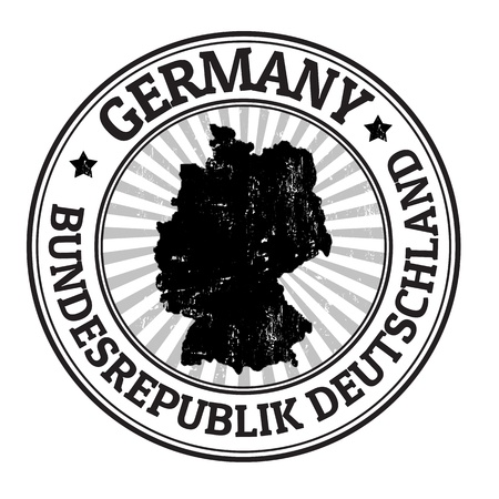 Grunge rubber stamp with the name and map of Germany Vector