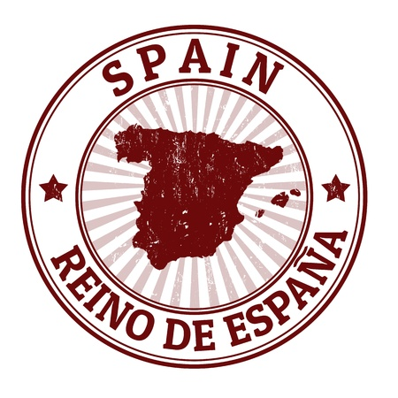 timbre voyage: Tampon en caoutchouc grunge avec le nom et la carte de l'Espagne