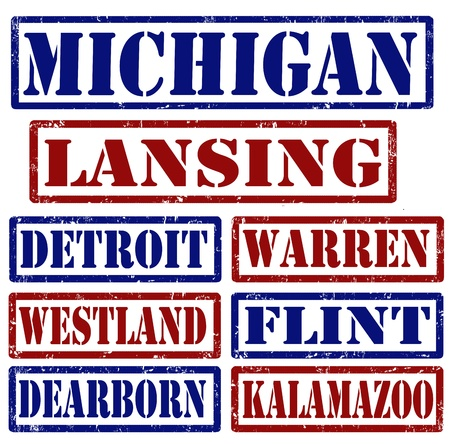 Set of Michigan cities stamps on white background Vector