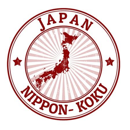 日本: グランジ スタンプ名と日本の地図  イラスト・ベクター素材