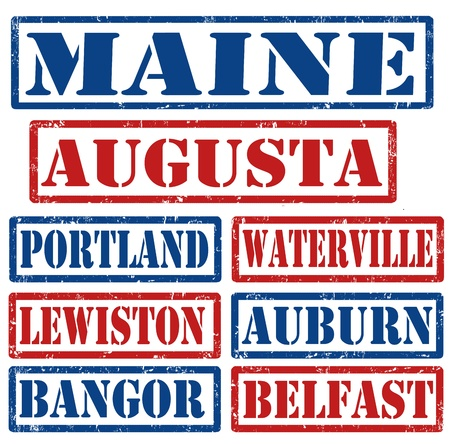 auburn: Set of Maine cities stamps on white background Illustration