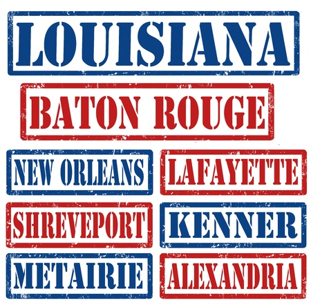 louisiana flag: Set of Louisiana cities stamps on white background