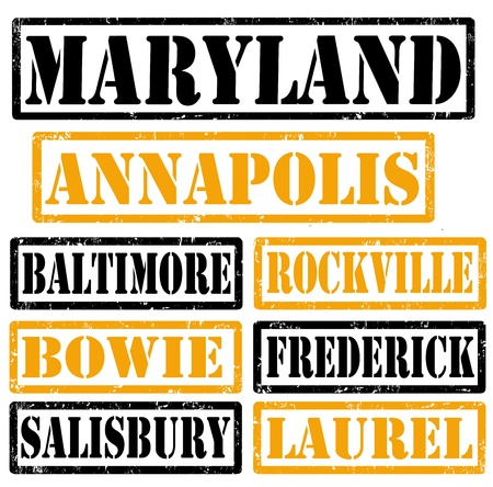 baltimore: Set of Maryland cities stamps on white background