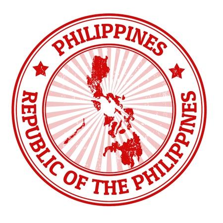 Grunge Stempel mit dem Namen und der Karte von Philippinen Standard-Bild - 21845641