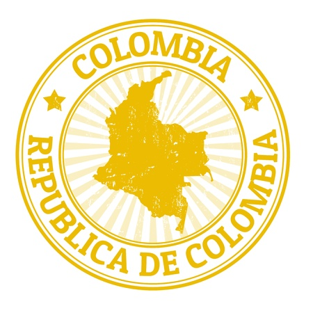 countries: Grunge rubber stamp with the name and map of Colombia