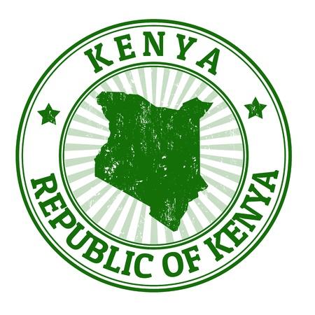 timbre voyage: Tampon en caoutchouc grunge avec le nom et la carte du Kenya