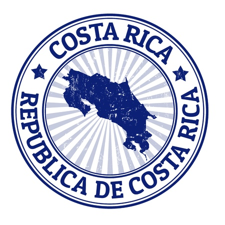 Grunge rubber stamp with the name and map of Costa Rica, vector illustration