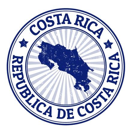 pasaporte: Grunge sello de goma con el nombre y el mapa de Costa Rica, ilustración vectorial Vectores