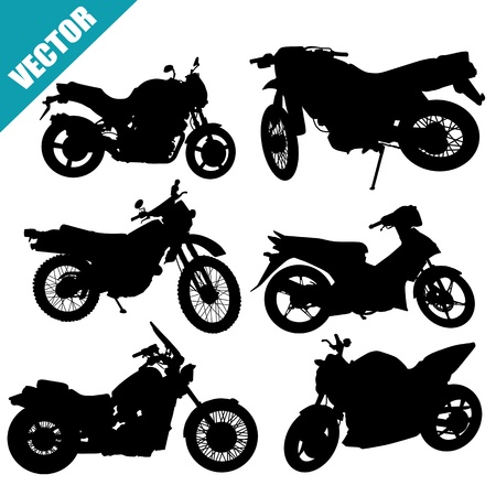 Sets of silhouette motorcycles on white background, vector illustration Vector