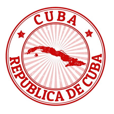 Grunge rubber stamp with the name and map of Cuba, vector illustration Vector
