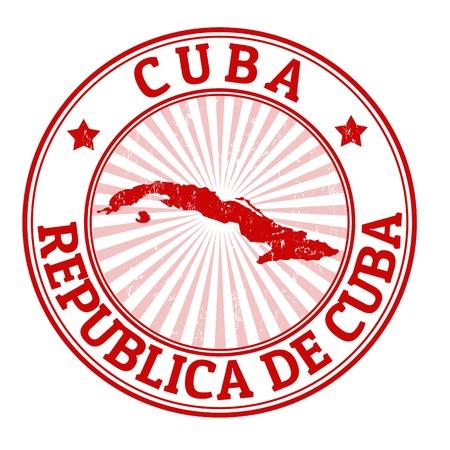 post stamp: Grunge timbro di gomma con il nome e la mappa di Cuba, illustrazione vettoriale