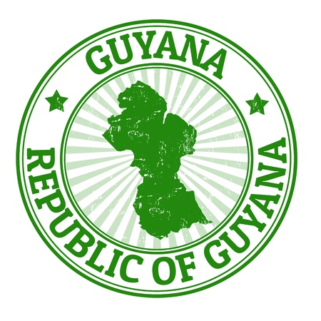 Grunge rubber stamp with the name and map of Guyana, vector illustration Vector