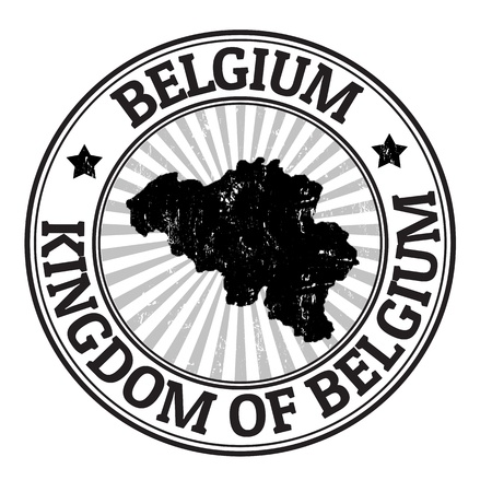imprinted: Grunge rubber stamp with the name and map of Belgium, vector illustration