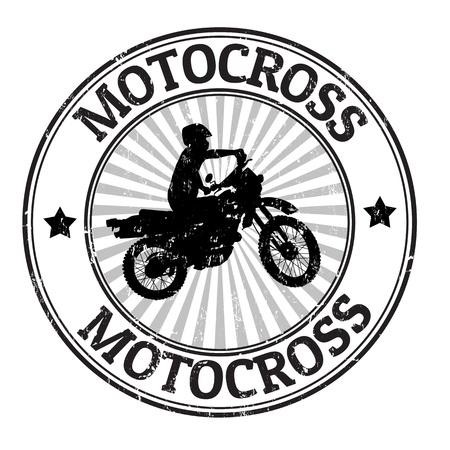 Motocross grunge rubber stamp, vector illustration