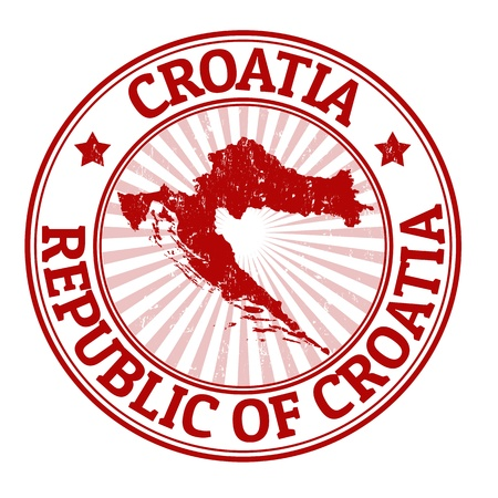 Grunge rubber stamp with the name and map of Croatia, vector illustration Illustration