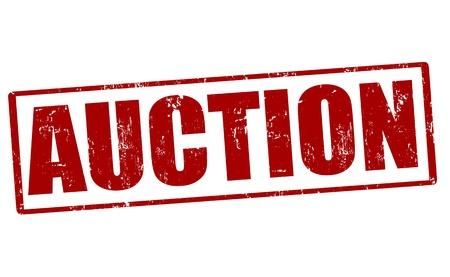 bid�: Auction grunge rubber stamp, vector illustration