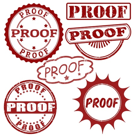 conclude: Set of grunge rubber stamps with word proof inside,vector illustration