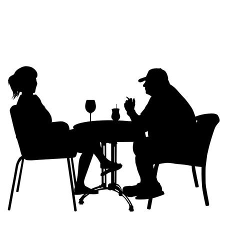 pareja comiendo: Pareja en cafés. Siluetas de personas en la vida urbana, ilustración vectorial
