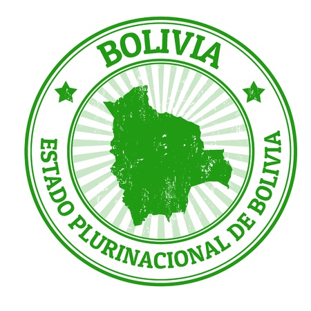 bolivia: Grunge rubber stamp with the name and map of Bolivia, vector illustration Illustration