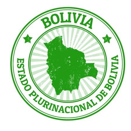 mapa de bolivia: Grunge sello de goma con el nombre y el mapa de Bolivia, ilustración vectorial