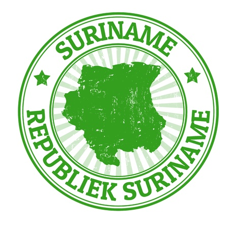 suriname: Grunge rubber stamp with the name and map of Suriname, vector illustration