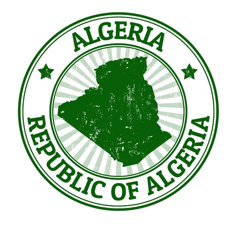 identifier: Grunge rubber stamp with the name and map of Algeria, vector illustration