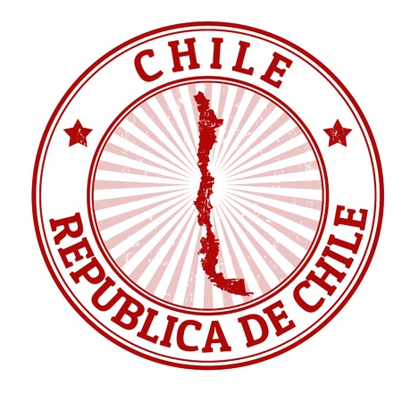 Grunge rubber stamp with the name and map of Chile, vector illustration