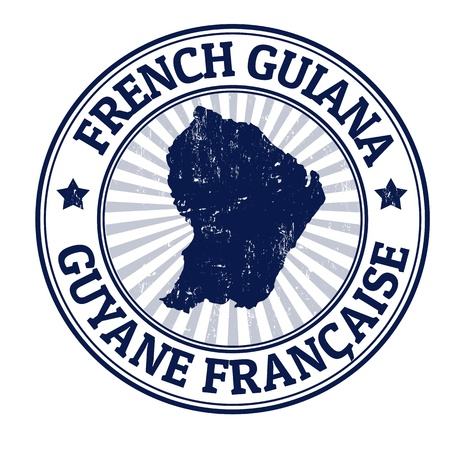 french guiana: Grunge rubber stamp with the name and map of French Guiana, vector illustration Illustration