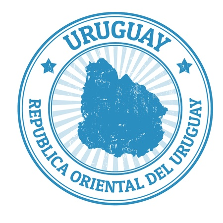 Grunge rubber stamp with the name and map of Uruguay, vector illustration Vector