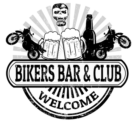 bar top: Bikers Bar and Club grunge rubber stamp on white background, vector illustration Illustration