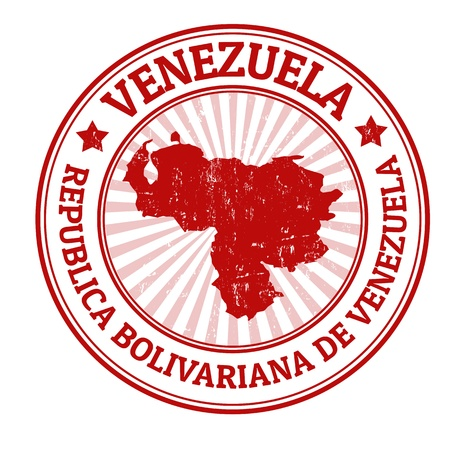 venezuela: Grunge rubber stamp with the name and map of Venezuela, vector illustration