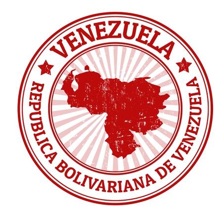 mapa de venezuela: Grunge sello de goma con el nombre y el mapa de Venezuela, ilustración vectorial