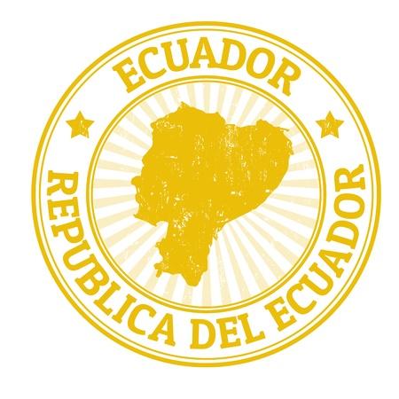 stempel reisepass: Grunge Stempel mit dem Namen und der Karte von Ecuador, Vektor-Illustration