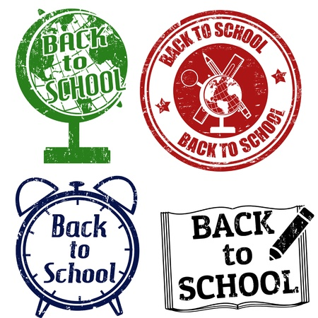 Set of grunge rubber stamps with the text Back to School written inside the stamp, vector illustration Stock Vector - 22013794