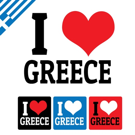 greece flag: I love Greece sign and labels on white background, vector illustration