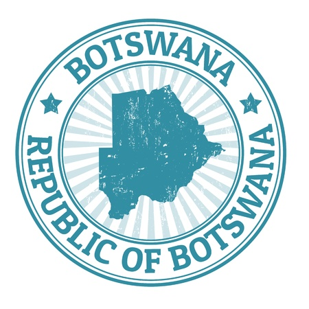 Grunge rubber stamp with the name and map of Botswana Vector