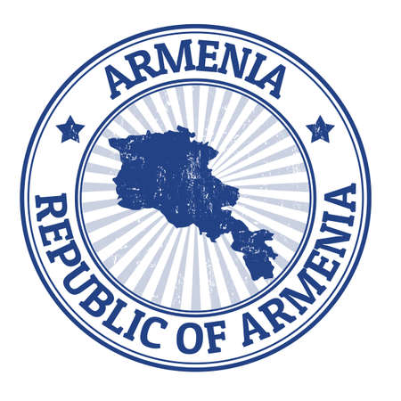 map of armenia: Grunge rubber stamp with the name and map of Armenia Illustration