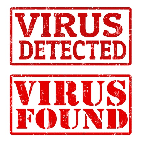 Grunge rubber stamps with text Virus Detected and Virus Found Illustration