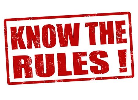 Connaître les règles rouge timbre en caoutchouc grunge, illustration vectorielle Vecteurs