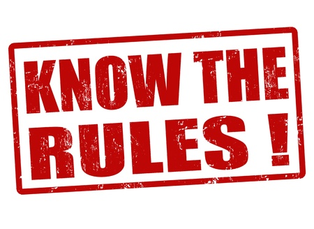 rules: Know the rules red grunge rubber stamp, vector illustration