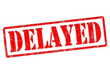 delayed: Delayed red grunge rubber stamp, vector illustration