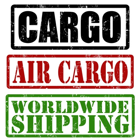air cargo: Cargo, air cargo and worldwide shipping grunge rubber stamps, vector illustration